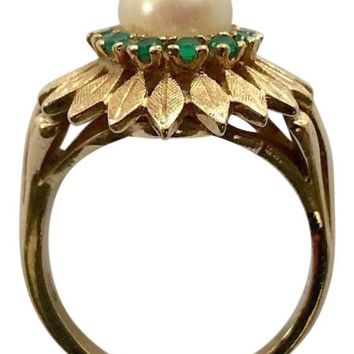 Vintage 14k Emerald and Pearl Ring