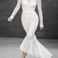 White Off Shoulder Mermaid Bridesmaid Wedding Gowns Prom Evening Party Lace Maxi Dress