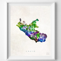 Lazio, Map, Italy, Print, Watercolor, Italian, Europe, Home Town, Poster, Gift, Living Room, Painting, Bedroom, World Map [NO 1249]