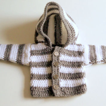 Baby Girls/Boys Hoodie Cardigan Crochet Hooded  Cardigan Jacket with Hoodie Knit Jacket  Baby to Adult  Sizes
