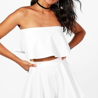 Tara Bandeau Crop And Shorts Co-Ord | Boohoo