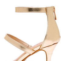 Three-for-All Gold Kitten Heels