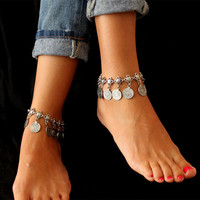 Sexy Women Anklets Chain Silver Coin Foot Anklet Bracelet Foot Jewelry Summer