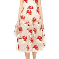 Tapestry Floral Ruffle Trim Dress