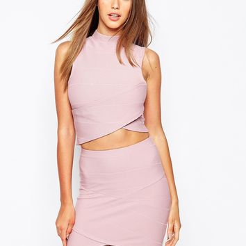 Missguided Bandage Wrap Over Sleeveless Crop Top
