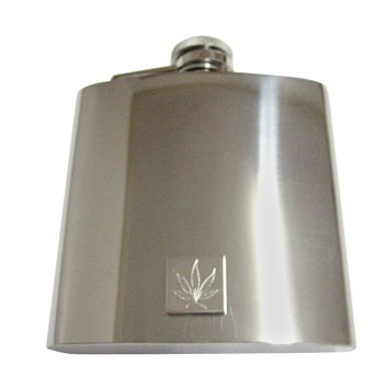 Silver Toned Etched Weed 6 Oz. Stainless Steel Flask