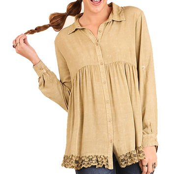 Umgee Taupe High Low Button Up Washed Tunic with Lace Detail Tops