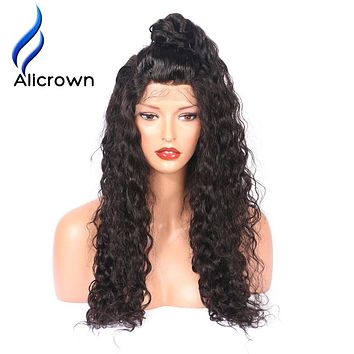 Alicrown Hair Curly Silk Top Lace Front Human Hair Wigs Brazilian Remy Hair Glueless Lace Wigs with baby hair Pre Plucked