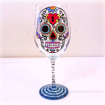 Spanish, Wine Glass, Sugar Skulls, Sugar Skull, Skull, Latin, Day of the Dead, Dia De Los Muertos, Mexican, Colorful, Hand Painted, Gifts,