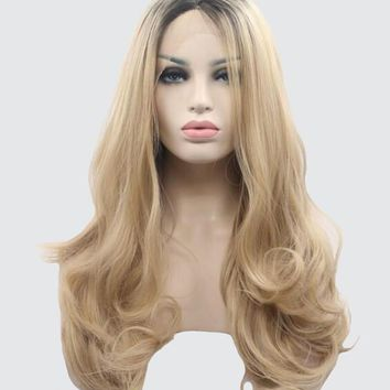 Blonde Long Wavy Synthetic Lace Front Wig