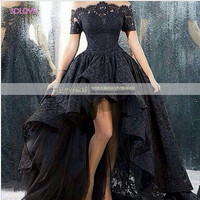 2016 Saudi Arabia Dubai Hign Low Black Wedding Dress  The Shoulder Lace Wedding Dress Wedding Gown Vestido De Noiva(SL-W413)