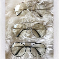Ryan Oversize Aviators- Clear