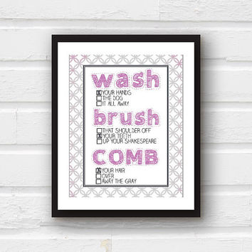 Kids Bathroom Decor - Wash Your Hands, Brush Your Teeth, Comb Your Hair - Modern Children's Bathroom Art