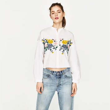 Fashion Multicolor Floral Embroidery Long Sleeve Shirt Tops