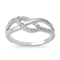 925 Sterling Silver CZ Promise Infinity Ring 7MM
