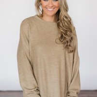 Never Gonna Give You Up Taupe Sweater