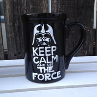 Keep Calm and Use The Force black coffee mug with white hand painted letters. star wars fans, star wars gift, men, women, Darth Vader