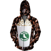 Basic Coffee Zip Up Hoodie