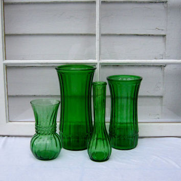 Shabby Chic Vintage Green Vases - Depression Glass - Shabby Chic - Set of 4 - Green Vase - Antique Vase - Green Depression Glass