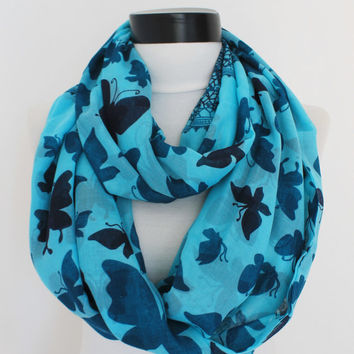 turquoise butterfly scarf,infinity scarf, scarf, scarves, long scarf, loop scarf, gift