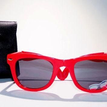 Tagre™ FREE SHIP usa! Red folding sunglasses with leather case / ray-ban wayfarer inspired /