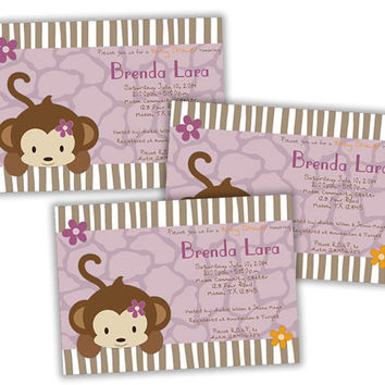Purple Monkey Girl Baby Shower Invitation - Cocalo Jacana Baby Shower - Girl Jungle Invitation - Girl Safari Shower - Flowers Stripes