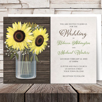 Sunflower Wedding Invitations - Mason Jar on Rustic Brown Wood with Beige - Yellow Floral design - Printed Invitations