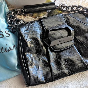 Guess by Marciano Black Leather & Gunmetal Chain Handbag Purse w/Dust Cover