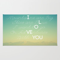 Adventures and I Love You Area & Throw Rug by RichCaspian   Society6