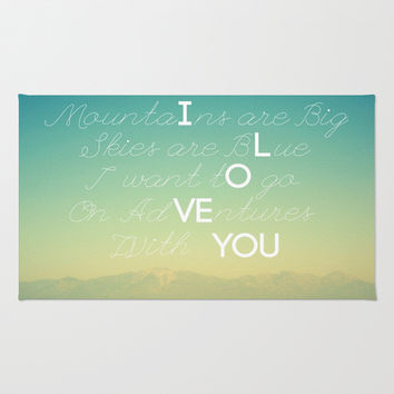 Adventures and I Love You Area & Throw Rug by RichCaspian | Society6