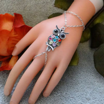 Slave Bracelet, Owl, Hand Chain, Infinity Ring, Hand Harness, Hand Jewelry,Colorful, Silver
