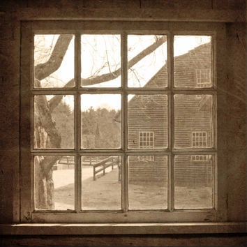 Colonial Scene Through Antique Window - Sepia -  Fine Art Photo - Vintage Inspired - Square