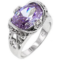 Lilac Filigree Cocktail Ring - Size 8 - CLEARANCE
