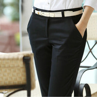 New 2016 Spring and Summer Women Ol Formal Pants Slim Straight Casual Pants Plus Size Women's Overalls High Waist Pants