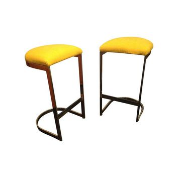 Pre-owned Brass Cantilevered Bar Stools by Milo Baughman