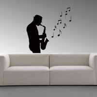 Wall Decal Sticker Music Man Jazz Notes Soul Sound Saxophone Band V87