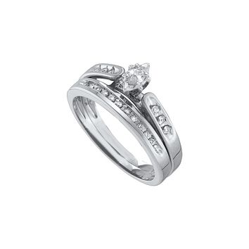 10kt White Gold Womens Marquise Diamond Bridal Wedding Engagement Ring Band Set 1/5 Cttw
