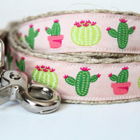 Cactus Dog Collar, Southwest Dog Collar, Adjustable Dog Collar, Pink Dog Collar, Girl Collar