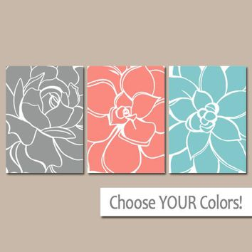 CORAL GRAY Aqua Wall Art, Matching Bedroom Pictures, CANVAS or Print Bathroom Decor, Succulent Flower, Floral Dahlia, Home Decor, Set of 3