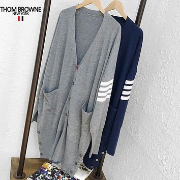 THOM BROWNE Fashion Women Casual Long Sleeve V Collar Knit Cardigan Jacket Coat
