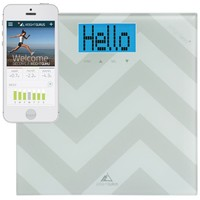 Weight Gurus Digital Bathroom Scale with Large Backlit LCD and Smartphone Tracking (Chevron)