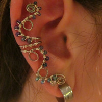 Blue & Purple Beaded Silver Wire Curly-Q Ear Cuff- Light Blue Wire Wrapped Ear Accessory, Embellishment- Handmade Jewelry