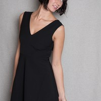 Win Win Apparel Sleeveless V-Neck A-Line Fit & Flare Dress With Back Cut Out - Black