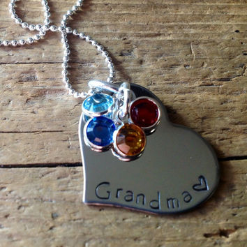 Grandma Birthstone Necklace Mom. Nana. Mother. Personalized Grandchildren