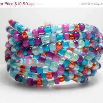 ON SALE Braided Cuff Bracelet Multi Color Blue Purple Orange Beaded Cuff Bracelet