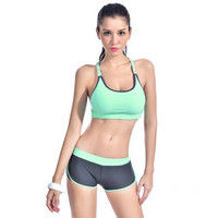 Sexy Women Elastic Tights Sports Suit Fitness Body Building Beachwear Gym Running Breathable Tracksuit Halter Two-Piece Swimsuit