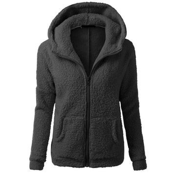 New Fashion Women Winter Warm Thicken Fleece Hoddies Zip Up Hooded Slim Parka Jacket Overcoat Coat