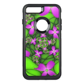 Modern Abstract Neon Pink Green Fractal Flowers OtterBox Commuter iPhone 7 Plus Case