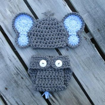 Crochet Grey Baby Elephant Outfit Newborn Photography Props