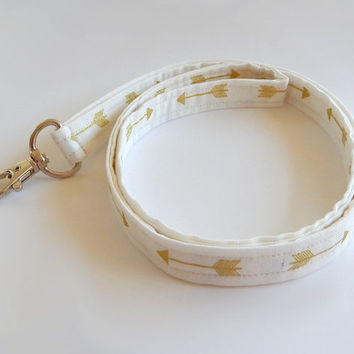 Arrow Lanyard / White & Gold / Boho Keychain / Bohemian / Shimmering Gold / Key Lanyard / Tribal / ID Badge Holder / Fabric Lanyard